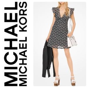 New Michael Kors Floral Embroidered Mesh Dress Blk